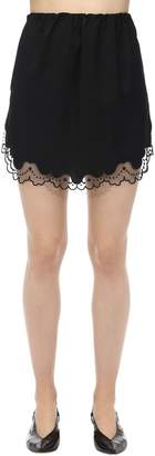 N°21 Virgin Wool & Lace Mini Skirt