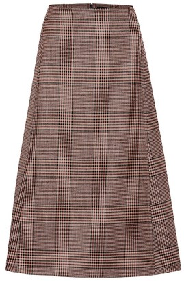 Loro Piana Enya checked stretch-wool midi skirt