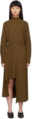Tibi Brown Chalky Drape Cut-Out Dress