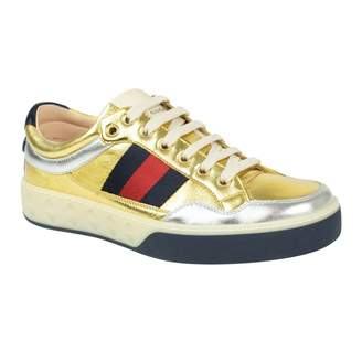 Gucci G74 Silver Leather Trainers