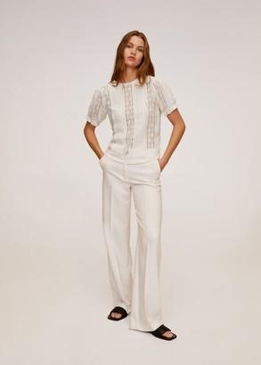 MANGO Lace top off white - S - Women