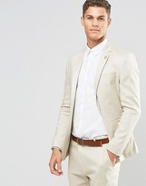 Asos Skinny Suit Jacket in Stone Linen Mix