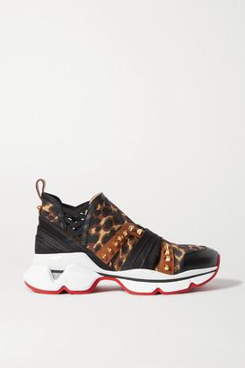 Christian Louboutin 123 Run Spiked Leopard-print Neoprene, Leather, Satin And Grosgrain Sneakers - Leopard print