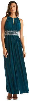 R & M Richards R&M Richards Sleeveless Long Gown With Beaded Waist