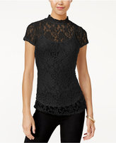 Almost Famous Juniors' Mock-Neck Lace Top with Cami