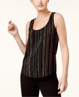 Trina Turk Cecilly Silk Striped Dot-Print Sleeveless Blouse