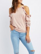 Charlotte Russe Ruffle-Trim Cold Shoulder Sweatshirt