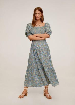 MANGO Printed long dress khaki - 6 - Women