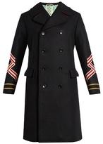 Gucci Panther and sleeve-appliqué wool coat