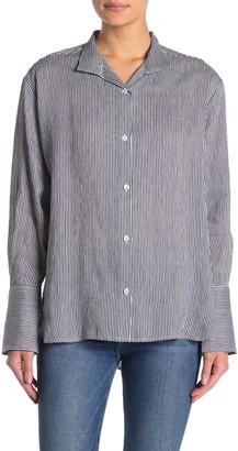 Frame Clean Collared Linen Blend Stripe Print Shirt