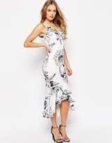 Asos Mono Floral High Apex Peplum Midi Dress