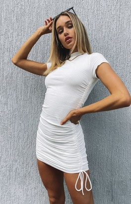 Beginning Boutique Cara Ribbed Drawstring Dress White