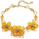 Oscar de la Renta Crystal and Cobochon Flower Collar Necklace
