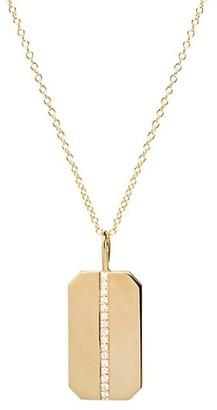 Zoë Chicco 14K Yellow Gold & Diamond Medium Dog Tag Pendant Necklace