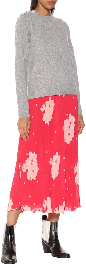 Thumbnail for your product : Ganni Floral georgette midi skirt