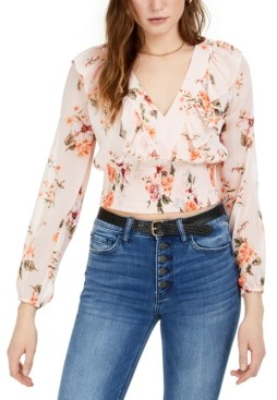Bar III Floral Smocked-Waist Top, Created for Macy's