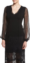 Elie Tahari Malia Split V-Neck Wool Sweater w/ Sheer Long Sleeves, Black
