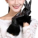FEOYA Women's Winter Genuine Leather Gloves with Rabbit Fur Cuff Warm Fleece Lining