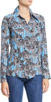 Michael Kors Long-Sleeve Button-Down Zebra-Print Silk Crepe de Chine Shirt