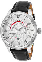 Lucien Piccard 40050-02S Men's The Capital Black Genuine Leather Silver-Tone