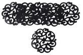 Fern Motif Black Wood Coasters from Bali (Set of 6), 'Fern Shadow'