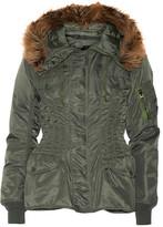 Junya Watanabe Hooded Faux Fur-trimmed Satin-twill Jacket - Army green