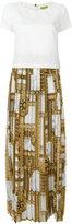 Versace printed trim pleated dress