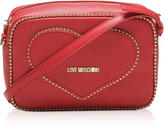 Love Moschino Red Eco- Leather Studded Camera/Belt Bag