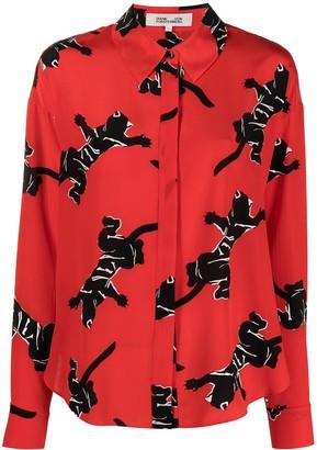 Diane von Furstenberg Climbing Panther print shirt