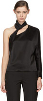 Lanvin Black Satin Single-shoulder Blouse