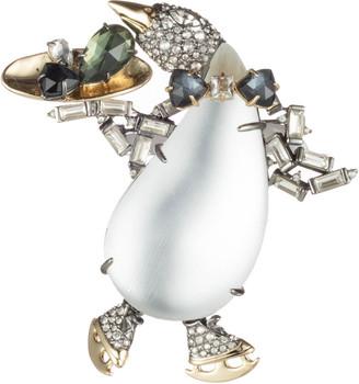 Alexis Bittar Crystal Encrusted Skating Penguin Pin