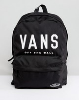 Vans Realm Logo Backpack In Black