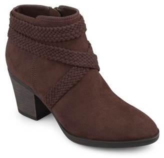 Brinley Co. Women's Faux Suede Criss Cross Strap Almond Toe Stacked Heel Booties