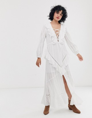 ASOS DESIGN lace up casual maxi dress