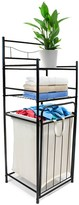 Sorbus Bathroom Tower Shelf with Hamper - Black