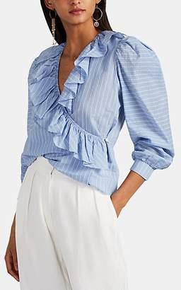 LES COYOTES DE PARIS Women's Luna Pinstriped Cotton Wrap Blouse - Blue