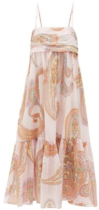Loup Charmant Iliana Paisley-print Pleated-bodice Cotton Dress - Pink Print