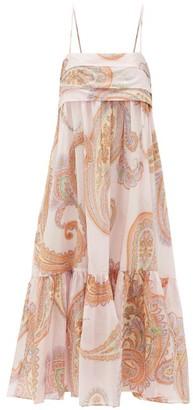 Loup Charmant Iliana Paisley-print Pleated-bodice Cotton Dress - Womens - Pink Print