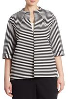 Lafayette 148 New York, Plus Size Striped Ponte Jacket