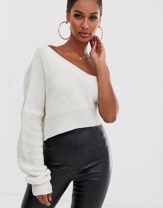 Lioness I'm Busy one shoulder knit in white