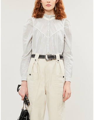 BA&SH Striped loose-fit ruffled-trim cotton shirt