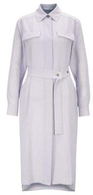 BOSS Long-length melange shirt dress with concealed placket