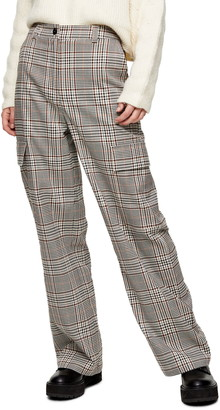 Topshop Check Utility Slouch Trousers