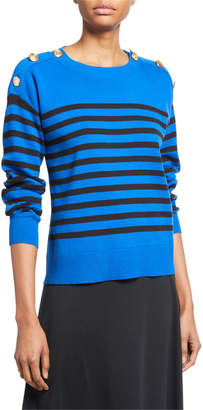 Joan Vass Petite Striped Cotton Sweater with Button Details