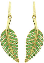 Jennifer Meyer Emerald Leaf Drop Earrings in Yellow Gold