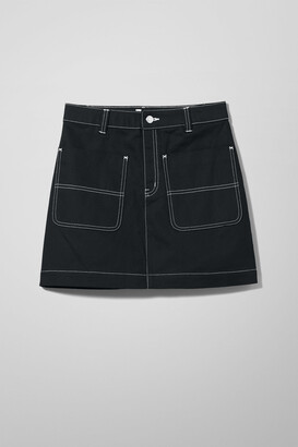Weekday Lemon Twill Skirt - Black