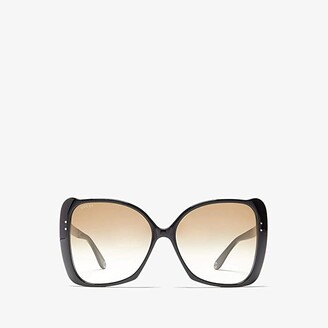 Gucci GG0471S (Shiny Black/Brown Gradient) Fashion Sunglasses