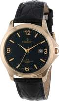 Peugeot Men's 2035 Round Gold-Tone Black Leather Strap And Black Dial Watch