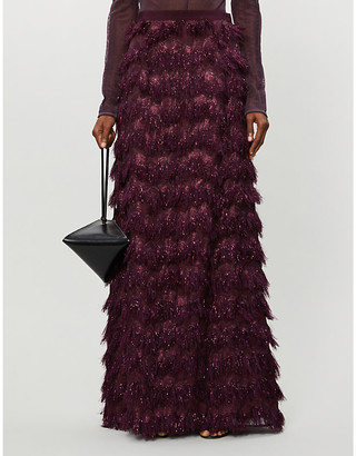 Selfridges Max Mara metallic mesh maxi skirt