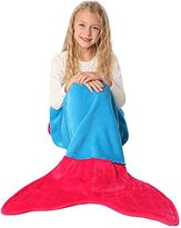 ENFY Mermaid Tail Blanket - Super Soft and Warm Minky Fabric Blanket Perfect Gift for Girls Ages 3-12 (Ocean Blue & Hot Pink)